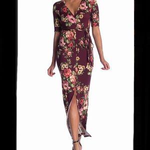 Stiletto Floral Vented Maxi Dress